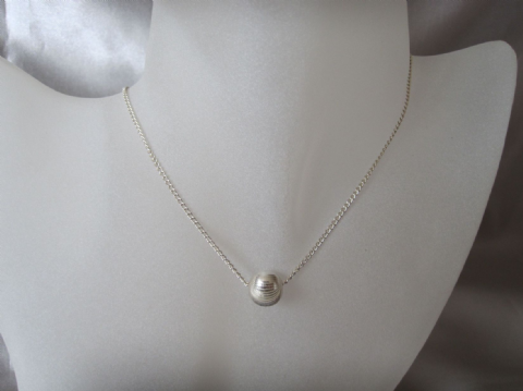 Sterling Silver Clam Shell Cut Bead & Chain Necklace